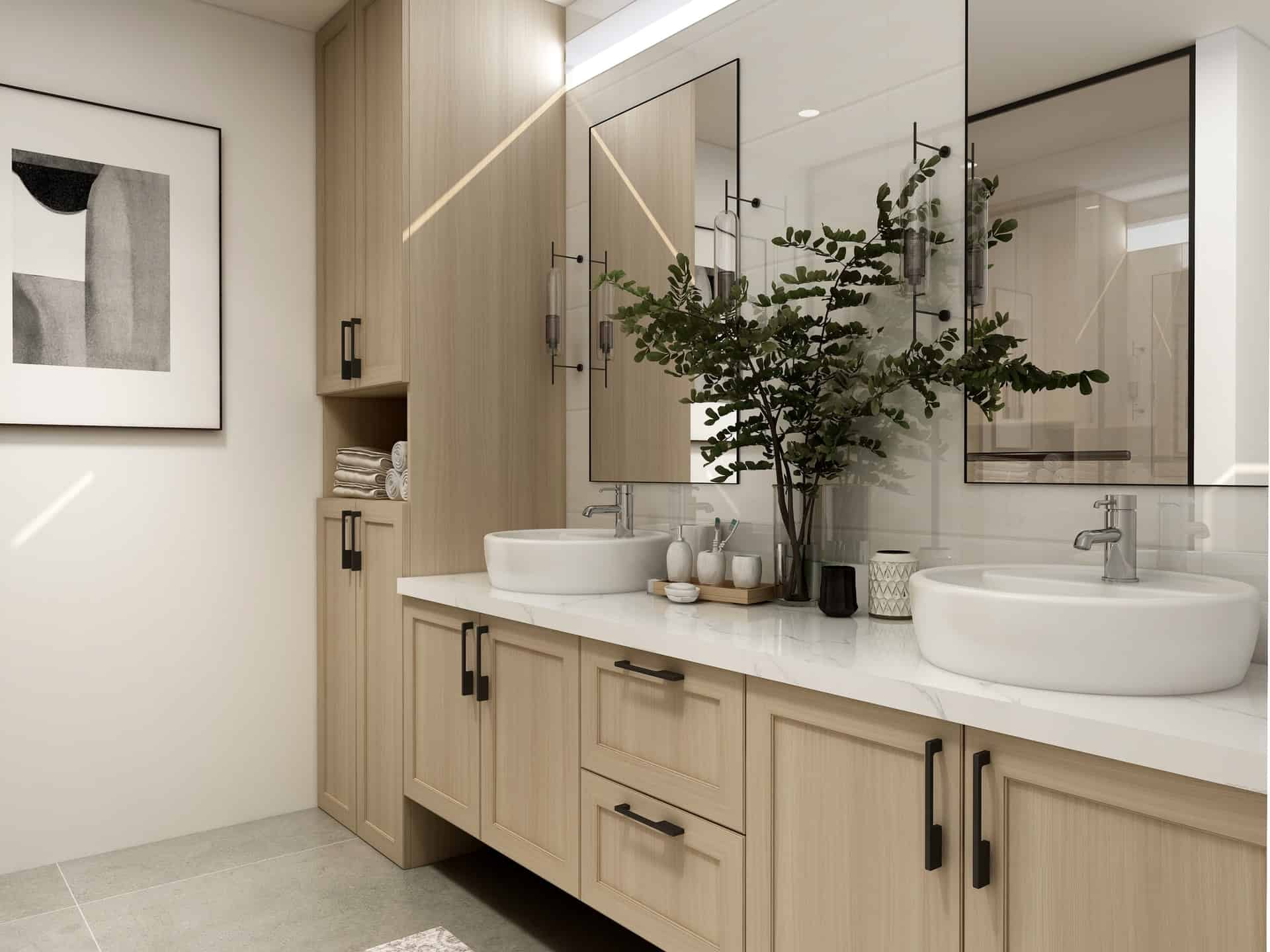 Two touchless faucets in a modern white and wooden bathroom