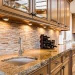 Granite countertop with a undermount kitchen sink
