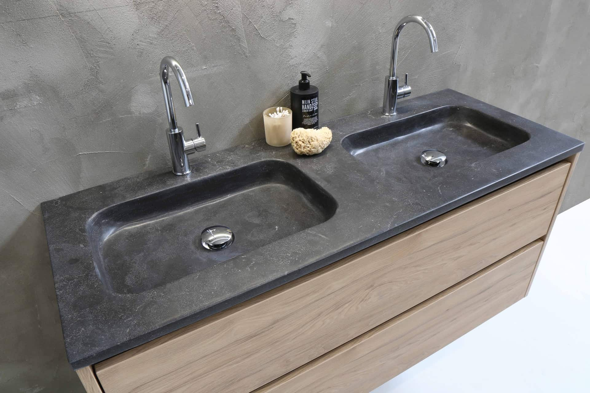 Pfister and delta faucets on a double sink